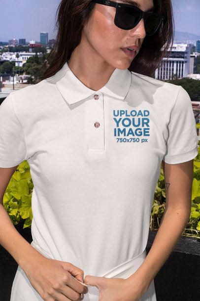 Polo Shirt Mockup of a Stylish Woman Posing Outside 28899