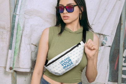Mockup of a Trendy Woman Wearing a Fanny Pack 29184