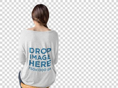 Back of a Girl Wearing a Long Sleeve Heather Tee Mockup at a Photo Studio a9985b