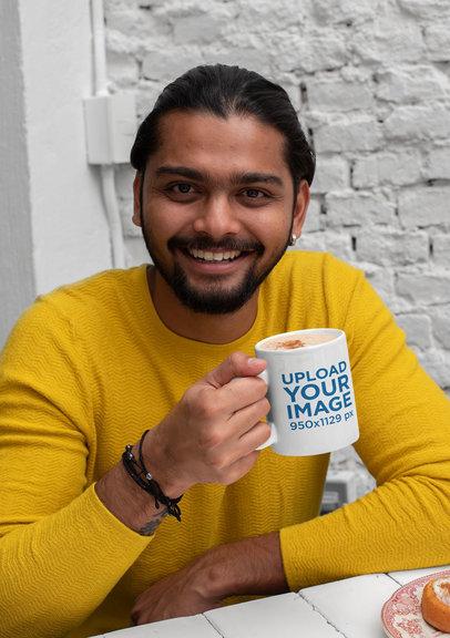 11 oz Coffee Mug Mockup Featuring a Man in a Kitchen 29100