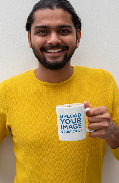 Mockup of a Bearded Man Smiling While Holding an 11 oz Coffee Mug 29102