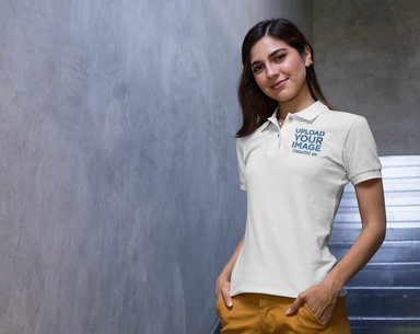 Polo Shirt Mockup of a Woman Posing with Hands in Her Pockets 28889