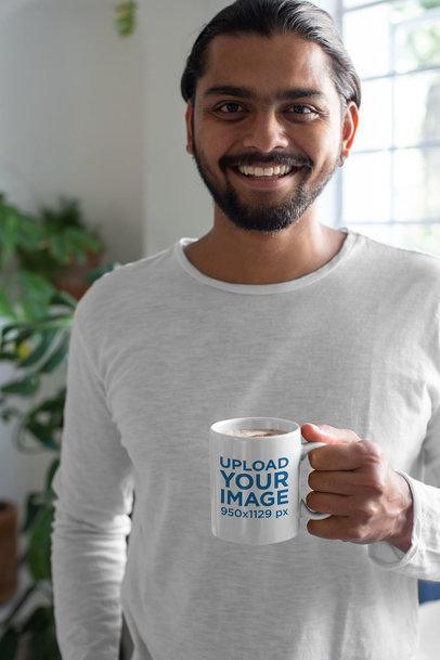 Mockup of a Man Drinking a Cappuccino in His 11 oz Coffee Mug 29103