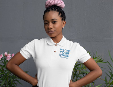 Polo Shirt Mockup of a Woman with Braids 28878