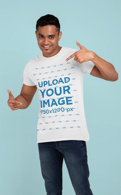 Mockup Featuring a Smiling Man Pointing at His Crewneck T-Shirt 28950