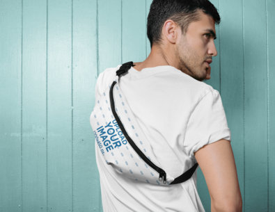 Back View Mockup of a Man Wearing a Fanny Pack Around His Body 29168