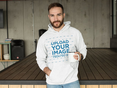 Heathered Pullover Hoodie Mockup Featuring a Bearded Man 28740