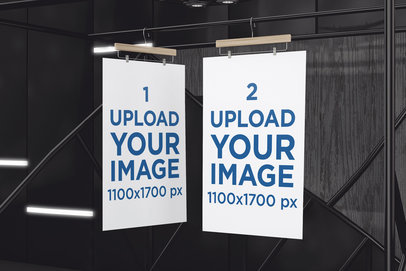 Mockup Featuring Two Exhibition Posters Hanging Against a Dark Background 519-el