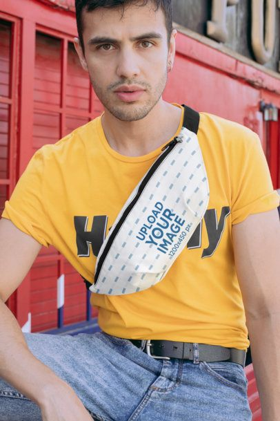 Mockup of a Trendy Man Wearing a Fanny Pack in the City 29167