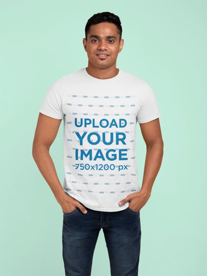 T-Shirt Mockup of a Man with a Trendy Haircut Standing at a Studio 28949