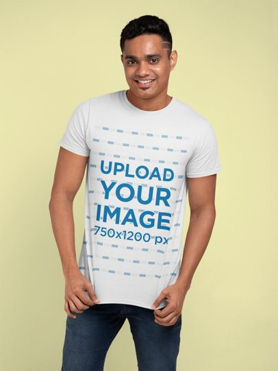 Crewneck T-Shirt Mockup Featuring a Man with a Trendy Haircut 28951