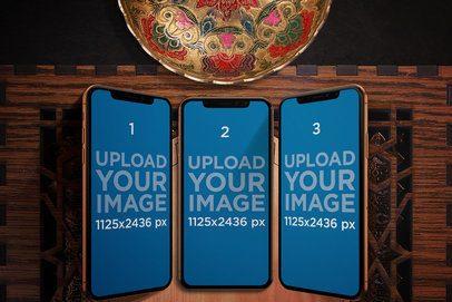Mockup of Three iPhones X in an Arabic Setting 669-el