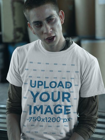 T-Shirt Mockup of a Scary Man with Zombie Makeup 29335