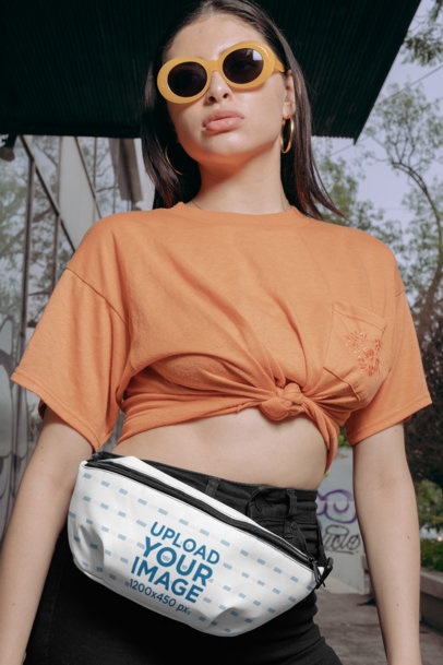 Fanny Pack Mockup Featuring a Woman with Trendy Glasses and a Knotted Tee 29195