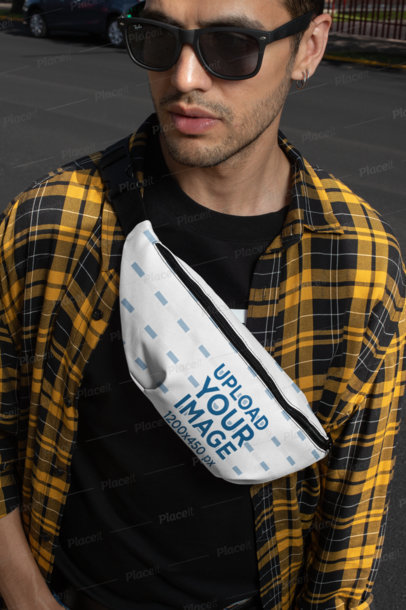 Fanny Pack Mockup of a Man with Sunglasses 29180