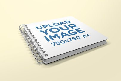 Render Mockup of a Squared Spiral Notebook in a Flat Surface 475-el
