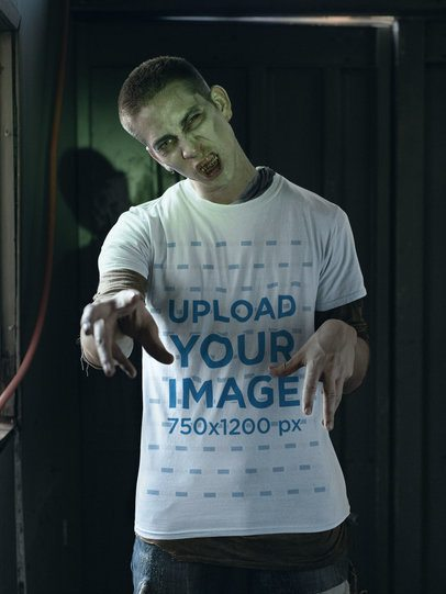T-Shirt Mockup of a Man Acting like a Zombie 29338