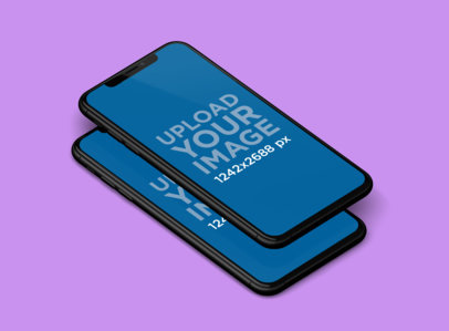 Mockup Featuring Two Overlapping iPhones XS Max and a Solid Color Backdrop 251-el