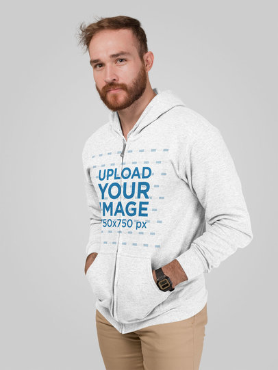 Mockup of a Man Wearing a Heathered Hoodie in a Studio 28743