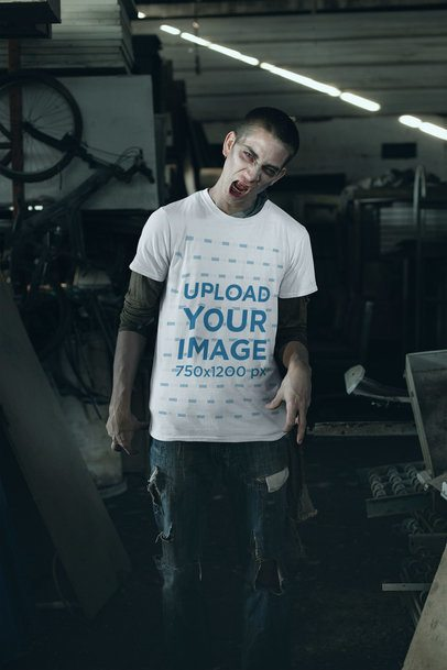 T-Shirt Mockup of a Man Dressed as a Zombie 29337