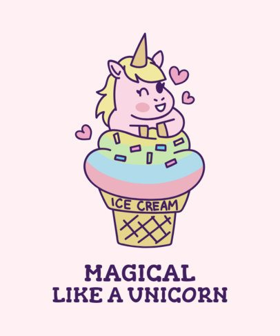 T-Shirt Maker with a Kawaii Unicorn Ice Cream 1817c