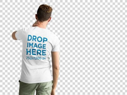Short Haired Man Wearing a T-Shirt Mockup from the Back at a Photo Studio a9990b