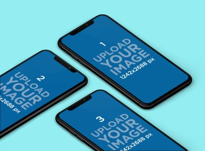 Mockup of Three iPhones XS Max Lying on a Customizable Background 253-el