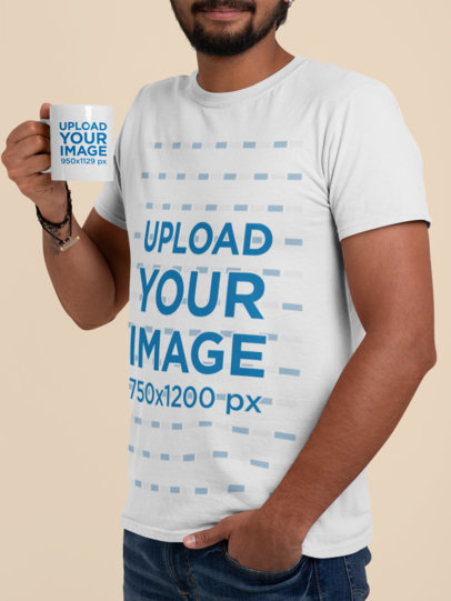T-Shirt Mockup of a Cropped-Face Man Holding an 11 oz Mug in a Studio 29118