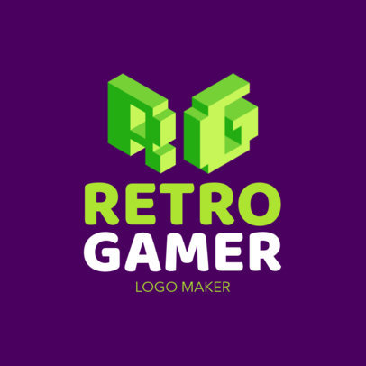 Pixel-Art Monogram Logo for Gamers 2554c