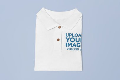 Mockup of a Folded Polo Shirt Over a Customizable Background 28928