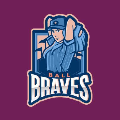 Baseball Logo Maker Featuring a Female Baseball Player 172i-2546