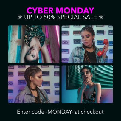 Girly Instagram Post Maker for a Cyber Monday Sale 1588m-1794