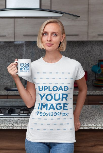 15 oz Coffee Mug Mockup of a Woman Wearing a T-Shirt in the Kitchen 29271
