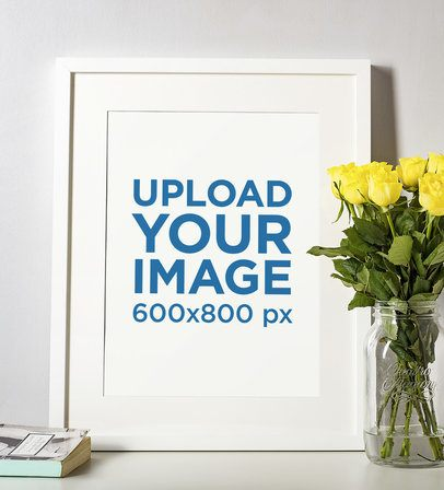 Picture Frame Mockup Placed by a Vase of Flowers 599-el
