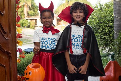 T-Shirt Mockup of Two Kids Trick-or-Treating in Halloween 29308