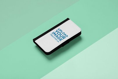 Mockup of an iPhone X Wallet Case on a Three Colored Background 29242