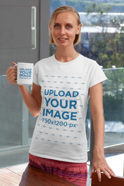 Shirt Mockup of a Woman Standing in a Balcony with an 11 oz Coffee Mug 29273