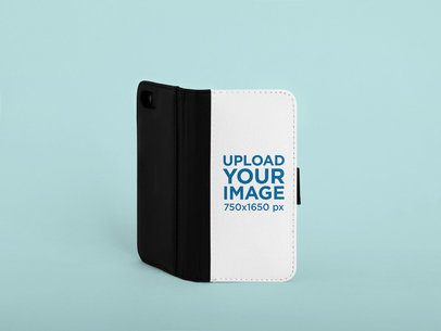 Mockup of an Opened Wallet Case for an iPhone 8  in a Studio 29235