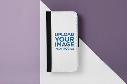 Mockup of a Wallet Case for iPhone X with Multiple Colors in the Background 29239
