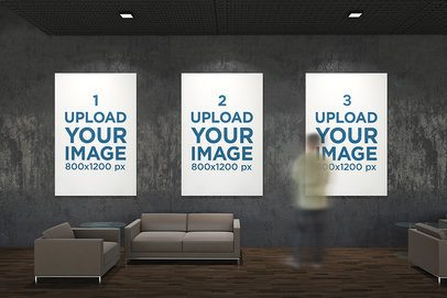 Mockup of Three Exhibition Posters Hanging Against a Dark Wall 313-el