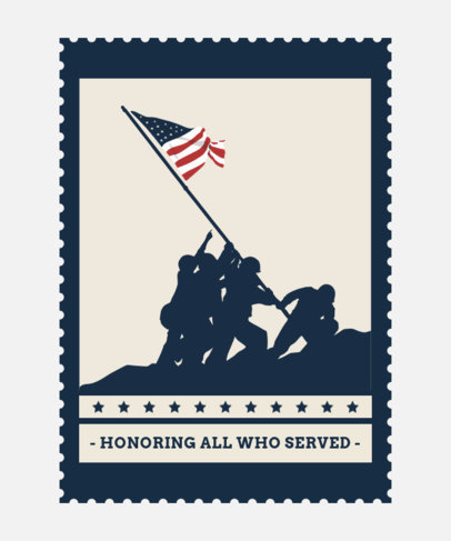 Veterans Day T-Shirt Design Template Featuring Iwo Jima Soldiers Raising the Flag 1813g