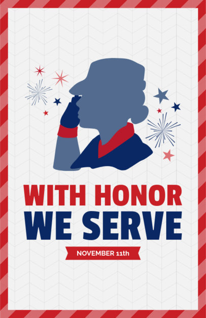 Veterans Day Flyer Generator Featuring a Saluting Soldier Woman Graphic 153h 1805