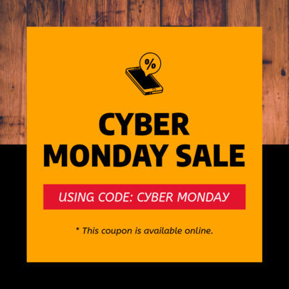 Coupon Design Template for a Cyber Monday Sale Featuring a Wooden Surface 1030f 1795