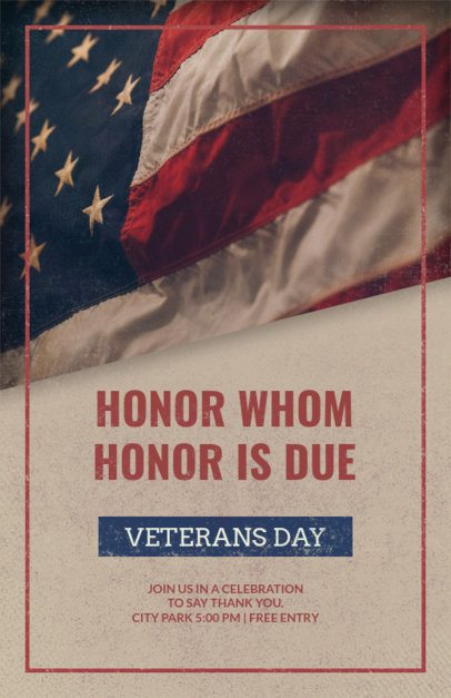 Veterans Day Flyer Template with a Waving American Flag in the Background 1803c