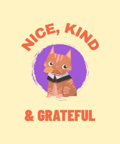 Thanksgiving T-Shirt Design Template with a Tender Cat 1807e