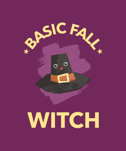 Halloween T-Shirt Design Maker with a Kawaii Witch Hat  1807d