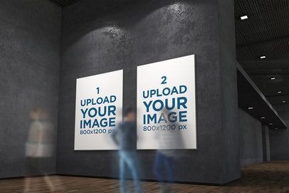 Mockup Featuring Two Exhibition Posters Hanging on a Dark Wall 316-el