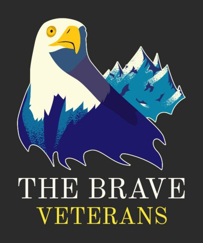 Veterans Day T-Shirt Design Maker with an American Eagle Illustration 1814c