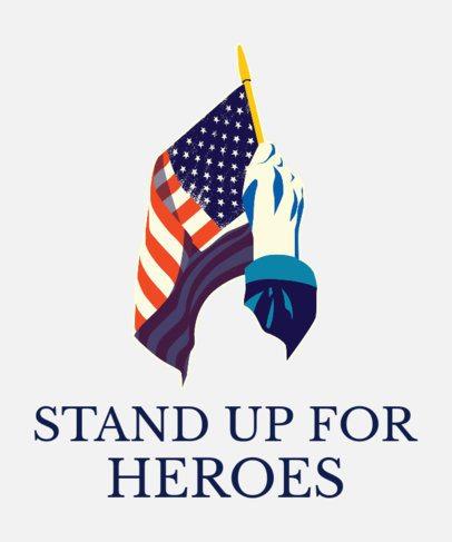 Veterans Day T-Shirt Design Generator Featuring a Hand Waving an American Flag 1814d