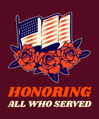 T-Shirt Design Maker Featuring a Waving American Flag for Veterans Day 1814e